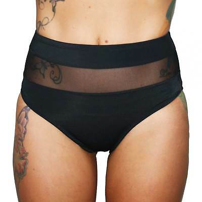 Black and Mesh High Waist Booty Shorts for Dance, Pole Dance, Yoga, Roller Derby