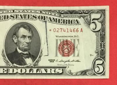 1963 $5 RED US Legal Tender *** STAR *** X466 Choice VF Crispness! Old Currency