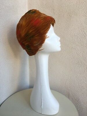 Vintage Mid Century Amazing Gold Red Feathers Hat Felt By Gay Paree 1960 Sz 22""