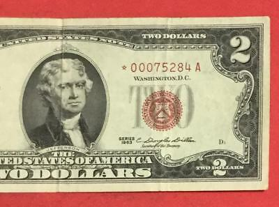 1963 $2 RED US DEUCE Choice VF *** STAR *** X284 Low Issue! Currency