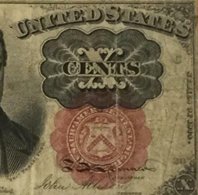 "1874 US Fractional Currency ""TEN CENTS"" VG! Old US Paper Money Currency"