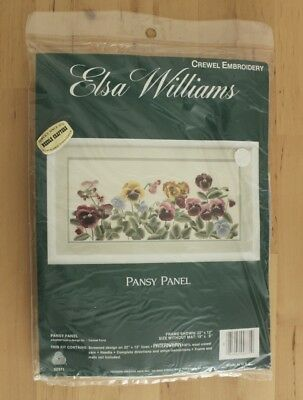 NIP Elsa Williams Pansy Panel Floral Crewel Linen Carmel Foret Embroidery Kit