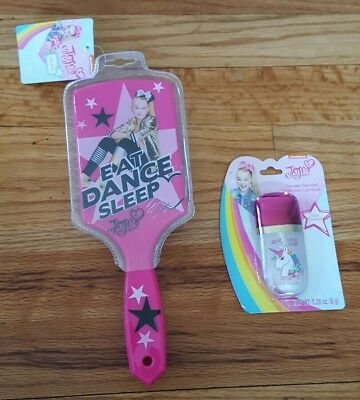 NWT JoJo Siwa Eat Dance Sleep Paddle Hair Brush Cupcake Unicorn Lip Gloss NEW