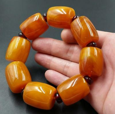 old  beeswax  Chicken oil yellow Amber  Barrel Beads EXQUISITE BRACELET