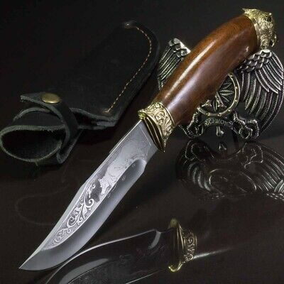 11.22in WOLF CUSTOM HANDMADE KNIFE HUNTING A.