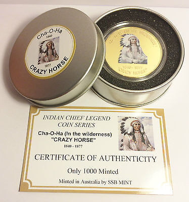 """NEW Indian Chief Series """"CRAZY HORSE"""" 1 Oz Coin C.O.A. Finished in 999 24k Gold"""