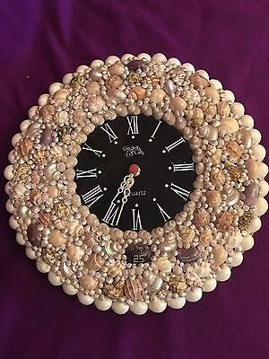 Sea Shell Wall Clock Black Face working 12 inches diameter Vintage