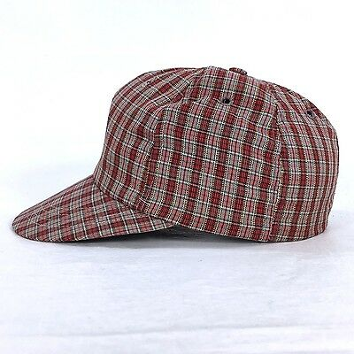 Vintage 1950's Columbia Red Plaid Cap USA MADE Portland OR Hat Fitted Size 7  c1