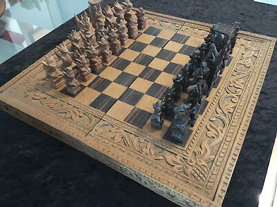 Large Vintage Chess set Rosewood & Teak Hand Carved Balinese