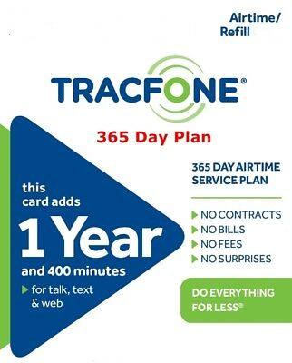 TracFone 1 Year Plan  365 Days and 400 Minutes 400 Text Messages 400 Data