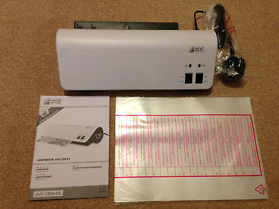 Laminator German Made UNITED OFFICE A4 350w with 30 pouches white shop £42 new