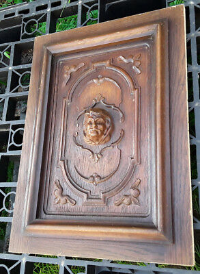Antique French Wood Carved Panel Door With Portrait In Big Relief N°2