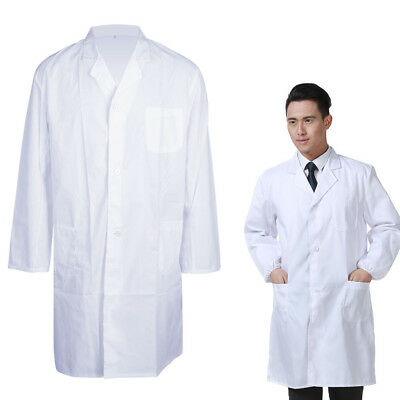 Unisex White Lab Coat Medical Doctor Scientist Fancy Costume Nursing Jackets UK