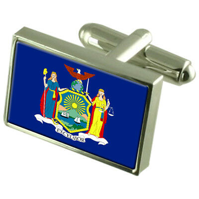 New York Flag Cufflinks With Select Gifts Pouch