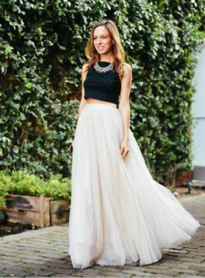 Ivory 5 Layers Tulle Long Tutu Skirts Prom Party Petticoat Slip Underskirt 1m