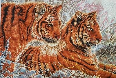 Hand made 'A pair of beautiful tigers' completed cross stitch 57 x 42cm