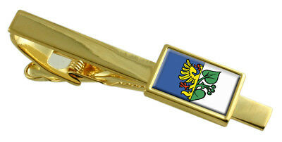 Karvina City Czech Republic Flag Gold Tie Clip Engraved Personalised