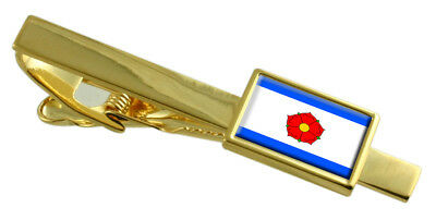 Cesky Krumlov City Czech Republic Flag Gold Tie Clip Engraved Personalised