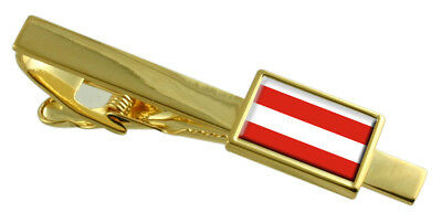 Brno City Czech Republic Flag Gold Tie Clip Engraved Personalised