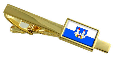 Chomutov City Czech Republic Flag Gold Tie Clip Engraved Personalised