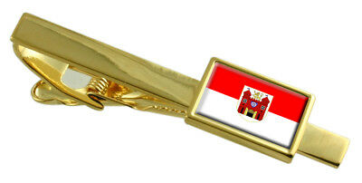 Liberec City Czech Republic Flag Gold Tie Clip Engraved Personalised