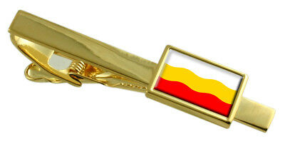 Decin City Czech Republic Flag Gold Tie Clip Engraved Personalised