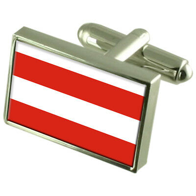 Brno City Czech Republic Flag Cufflinks Engraved Box