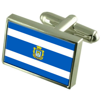 Sandefjord City Norway Flag Cufflinks Engraved Box