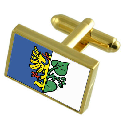 Karvina City Czech Republic Gold Flag Cufflinks