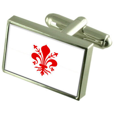 Pisa City Italy Flag Cufflinks Engraved Box