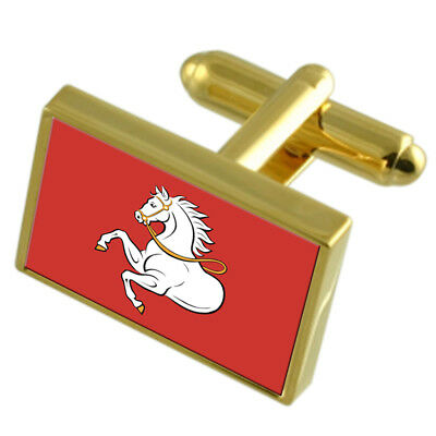 Pardubice City Czech Republic Gold Flag Cufflinks