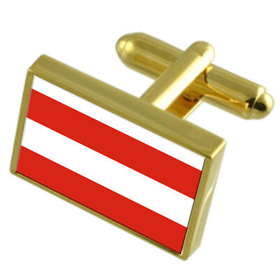 Brno City Czech Republic Gold Flag Cufflinks