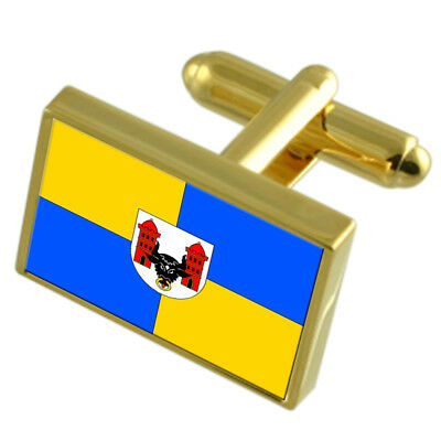 Prerov City Czech Republic Gold Flag Cufflinks