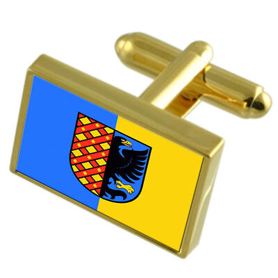 Prostejov City Czech Republic Gold Flag Cufflinks