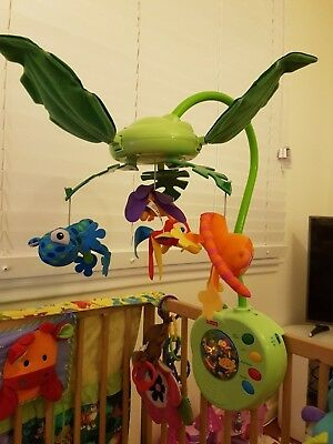 Fisher Price Rainforest Cot mobile with lights, classical music rainforest sound