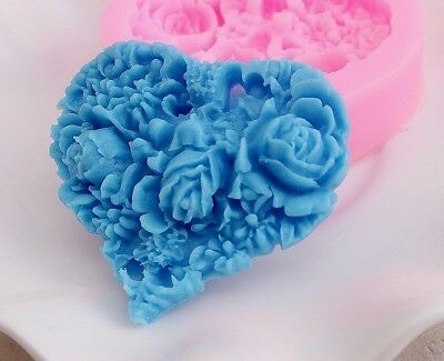 Aus Seller..FLORAL HEART 5.5cm  Fondant/chocolate/Soap Silicone Mould..new