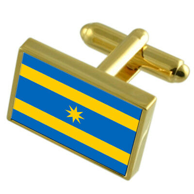 Zlin City Czech Republic Gold Flag Cufflinks Engraved Box