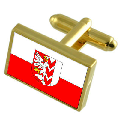 Opava City Czech Republic Gold Flag Cufflinks Engraved Box