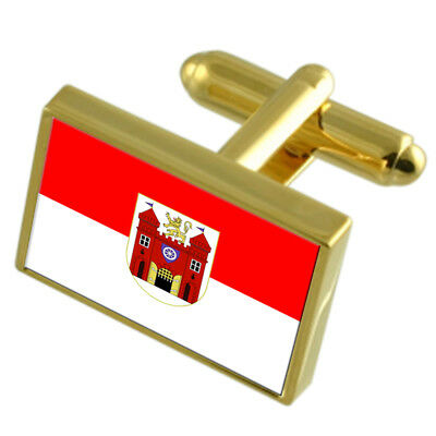 Liberec City Czech Republic Gold Flag Cufflinks Engraved Box
