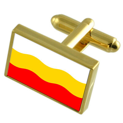 Decin City Czech Republic Gold Flag Cufflinks Engraved Box