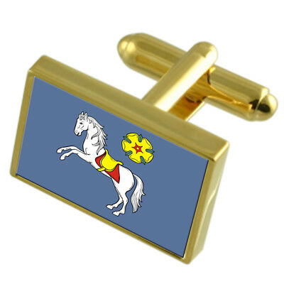 Ostrava City Czech Republic Gold Flag Cufflinks Engraved Box