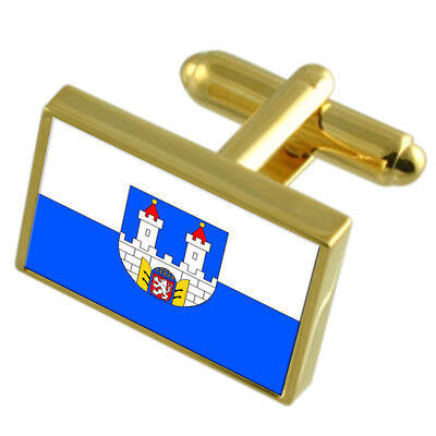 Chomutov City Czech Republic Gold Flag Cufflinks Engraved Box