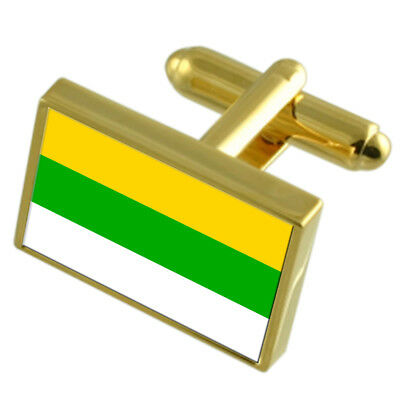 Frantiskovy Lazne City Czech Republic Gold Flag Cufflinks Engraved Box
