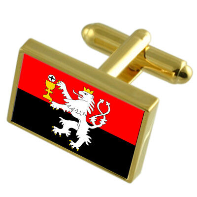 Tabor City Czech Republic Gold Flag Cufflinks Engraved Box