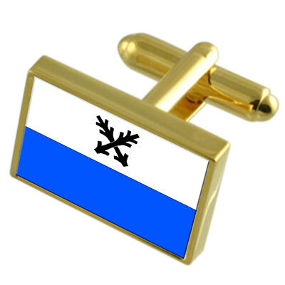 Ceska Lipa City Czech Republic Gold Flag Cufflinks Engraved Box