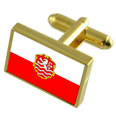 Karlovy Vary City Czech Republic Gold Flag Cufflinks Engraved Box