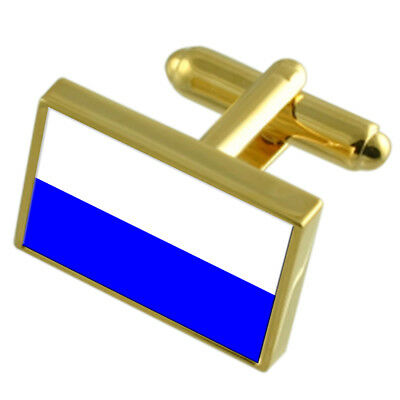 Mlada Boleslav City Czech Republic Gold Flag Cufflinks Engraved Box