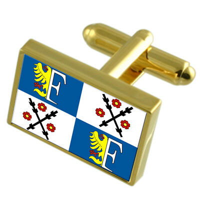 Frydek Mistek City Czech Republic Gold Flag Cufflinks Engraved Box