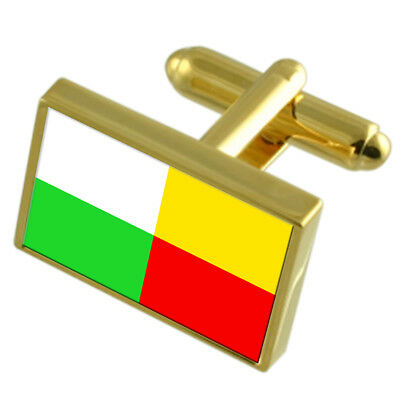 Plzen City Czech Republic Gold Flag Cufflinks Engraved Box