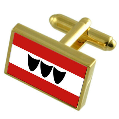 Trebic City Czech Republic Gold Flag Cufflinks Engraved Box